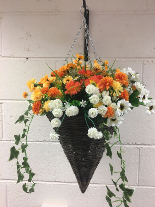 Round Wicker Artificial Flower Cone Hanging Basket - Orange,Yellow and White with trailing Ivy